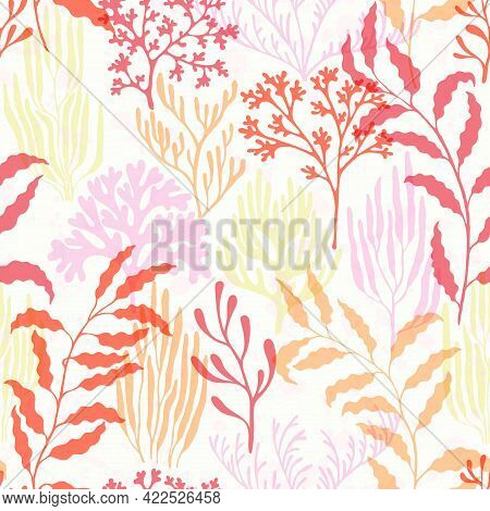 Coral Polyps Seamless Pattern., Red Sea Coral Reef Branches And Bushes Cartoon.