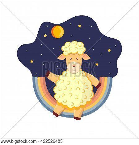 Cute Childish Illustration Of A Lamb On A Rainbow, Around A Star, Night Sky, Moon.