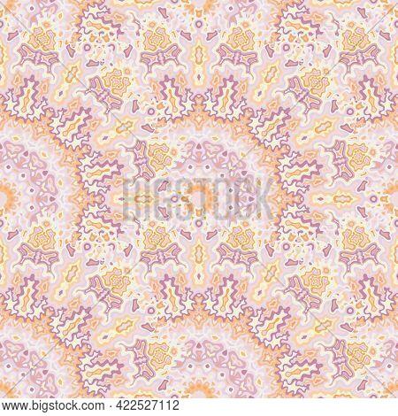 Medallion Flower Seamless Ornament. Islamic Folk Vector Graphic Design. Complex Damask Medallion Geo