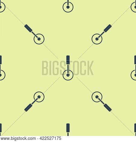 Blue Pizza Knife Icon Isolated Seamless Pattern On Yellow Background. Pizza Cutter Sign. Steel Kitch