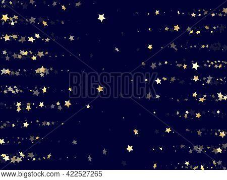 Gold Gradient Star Dust Sparkle Vector Background. Vintage Gold Star Sparkles Dust Elements On Dark