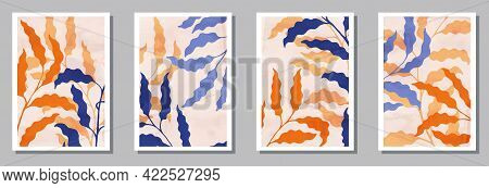 Herbal Interior Posters Set. Spring Branches With Leaves. Sage Foliage Elegant Botanical Patterns. S