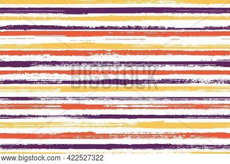 Pain Brush Stroke Grunge Stripes Vector Seamless Pattern. Beautiful Maritime Shirt Textile Design. G