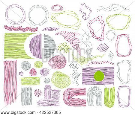 Scribble Frames, Lines And Dots Texture Backgrounds Vector Collection. Pencil Freehand Borders, Desi