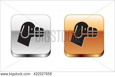 Black Dog In Muzzle Icon Isolated On White Background. Accessory For Dog. Silver-gold Square Button.