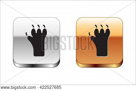 Black Paw Print Icon Isolated On White Background. Dog Or Cat Paw Print. Animal Track. Silver-gold S