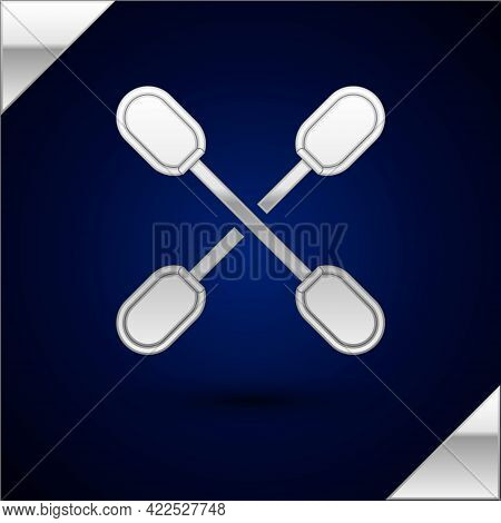 Silver Cotton Swab For Ears Icon Isolated On Dark Blue Background. Vector