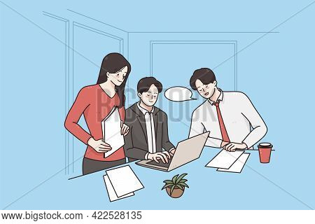 Business Teamwork, Brainstorm, Discussion Concept. Group Of Business Partners Workers Colleagues Dis
