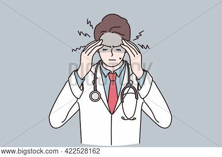 Working During Covid-19 Epidemic Concept. Portrait Of Stressed Man Doctor Cartoon Character Wearing