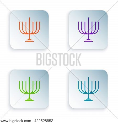 Color Hanukkah Menorah Icon Isolated On White Background. Hanukkah Traditional Symbol. Holiday Relig