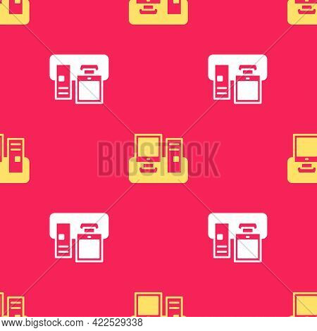 Yellow Computer Monitor With Keyboard And Mouse Icon Isolated Seamless Pattern On Red Background. Pc