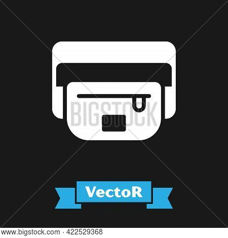 White Waist Bag Of Banana Icon Isolated On Black Background. Vector