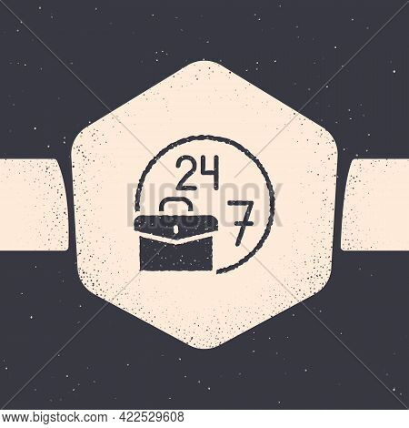 Grunge Always Busy Icon Isolated On Grey Background. Monochrome Vintage Drawing. Vector