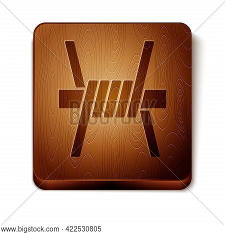 Brown Barbed Wire Icon Isolated On White Background. Wooden Square Button. Vector