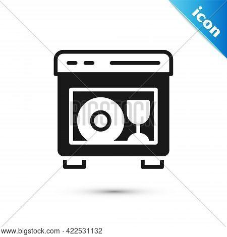 Grey Kitchen Dishwasher Machine Icon Isolated On White Background. Vector