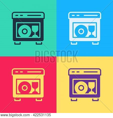 Pop Art Kitchen Dishwasher Machine Icon Isolated On Color Background. Vector