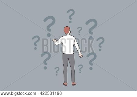 Doubt, Question, Uncertain Concept. Young Frustrated Businessman Standing Backwards And Feeling Doub