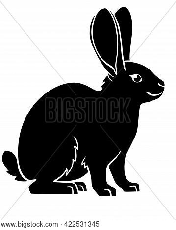 Rabbit Or Hare - Black Vector Animal Silhouette For Logo Or Pictogram. Rabbit - A Sign For Identity,