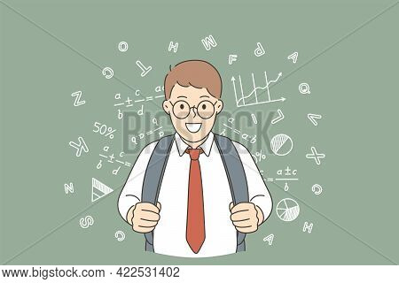 Back To School And Happy Education Concept. Young Happy Positive Schoolchild Boy With Backpack Stand