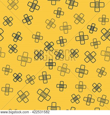 Blue Line Crossed Bandage Plaster Icon Isolated Seamless Pattern On Yellow Background. Medical Plast