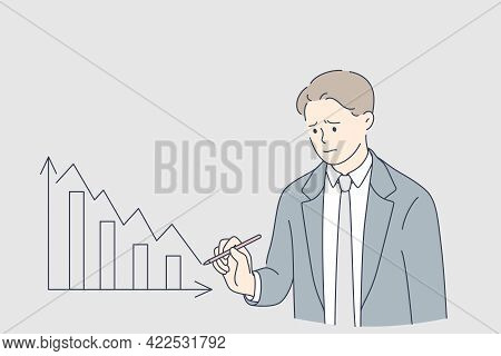Economical Downturn, Debts, Bankruptcy Concept. Young Frustrated Businessmen Cartoon Character Writi