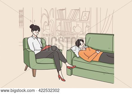 Hypnotherapy Session And Psychology Concept. Young Woman Psychotherapist And Patient Cartoon Charact