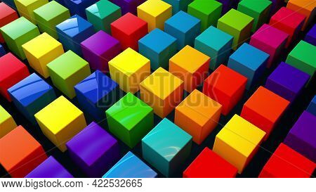 Geometric 3d Render Simple Squares Laid With Lines On Surface. Multicolored Boxes In Dynamic Lightin