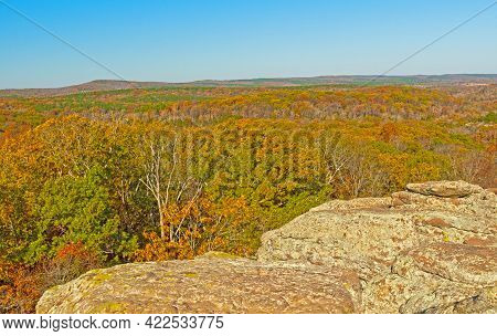 Fall Panorama From A Rocky Bluff In The Garden Of The Gods Near Herod, Illinois