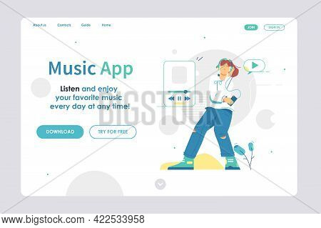 Landing Page Design Site Scheme Template Vector Illustration. Developing Music Application Flat Styl