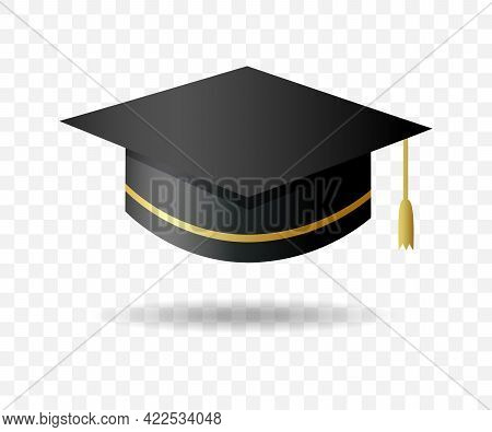 Graduate College, High School Or University Cap Isolated On Transparent Background. Vector Black 3d
