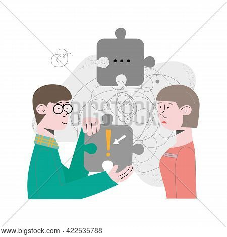 Couple, People, Team Are Problem Solving, Looking For Solution To The Task. Concept Vector Illustrat