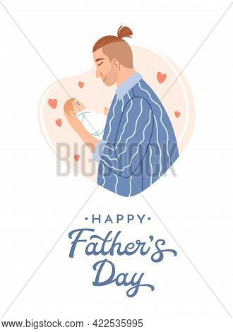 Caucasian Smiling Dad With Small Beautiful Newborn Baby On Heart Background. Happy Fathers Day Decor