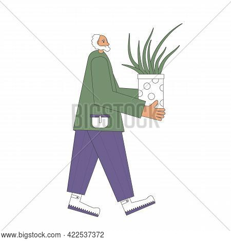 Indoor Plants Lovers. Senior Person Wearing In Casual Clothes Holding In Hands Potted Flower. People