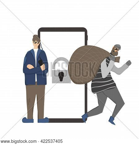 Users Data Protection Concept. Female Security Guard Standing With Arms Crossed And Defending Confid