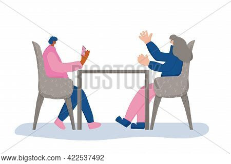 Interview Concept. Young Female And Male Persons Sitting In The Chair And Talking About Vacancy. Att
