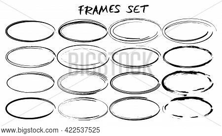 Frames Set. Collection Of Black Oval Borders. Bundle Of Ellipse Shapes Elements For Collage. Vector