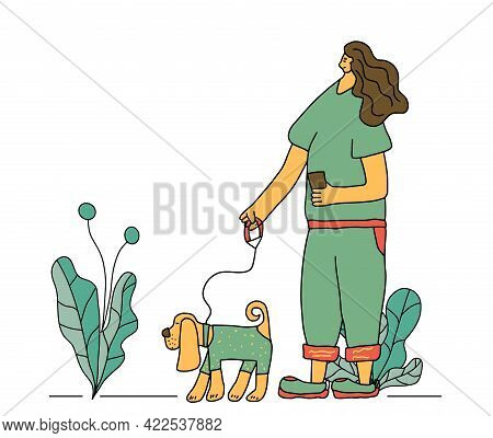 Dog Walking Concept. Owner Walking With Her Pet. Young Woman Keeps The Dog On The Leash. Vector Illu