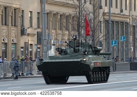 April 30, 2021 Moscow, Russia. Russian Tracked Infantry Fighting Vehicle Bmp-2 With The Berezhok Com