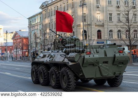 April 30, 2021 Moscow, Russia. Russian Armored Personnel Carrier Btr-82a On Tverskaya Street In Mosc