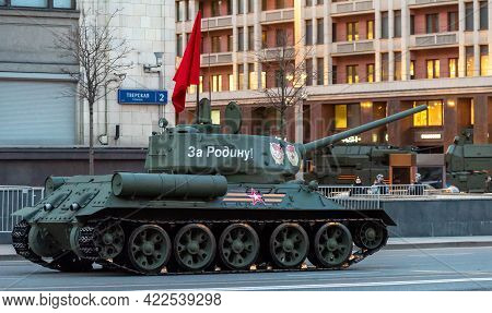 April 30, 2021 Moscow, Russia. Soviet Medium Tank Of The World War Ii Period T-34-85 On Tverskaya St