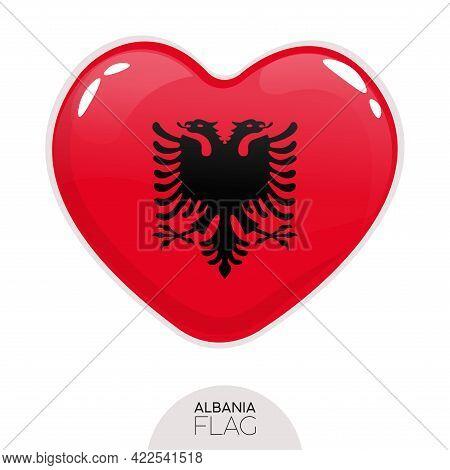 Isolated Flag Albania In Heart Symbol Vector Illustration