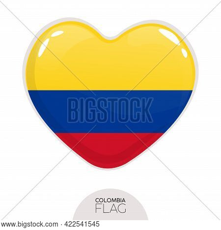 Isolated Flag Colombia In Heart Symbol Vector Illustration