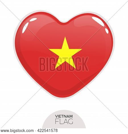 Isolated Flag Vietnam In Heart Symbol Vector Illustration