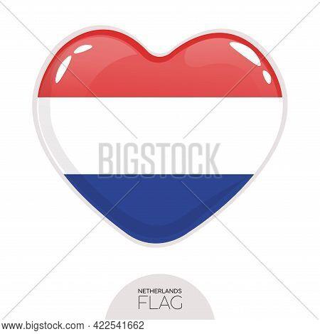 Isolated Flag Netherland In Heart Symbol Vector Illustration