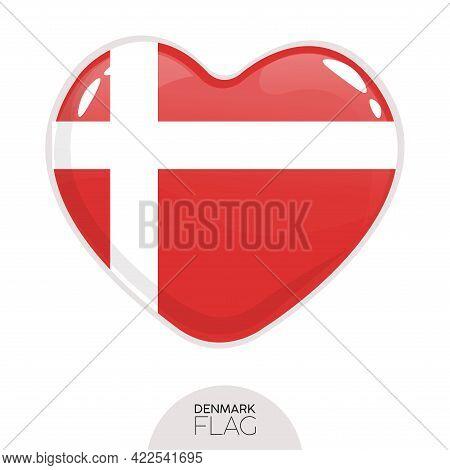 Isolated Flag Denmark In Heart Symbol Vector Illustration