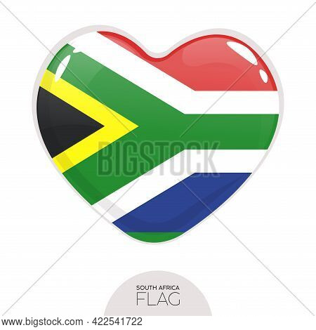 Isolated Flag South Africa In Heart Symbol Vector Illustration