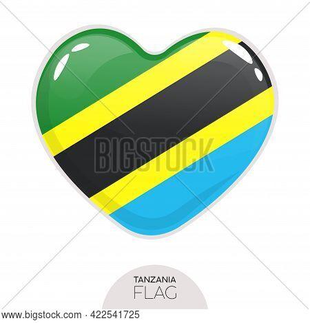 Isolated Flag Tanzania In Heart Symbol Vector Illustration
