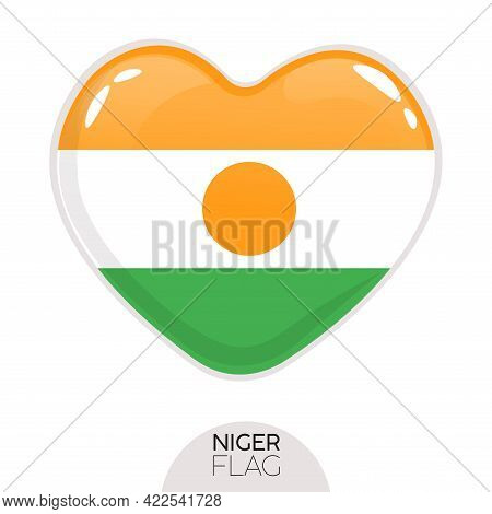 Isolated Flag Niger In Heart Symbol Vector Illustration