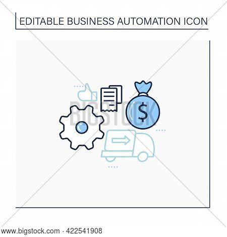 Automatic Accounts Payable Line Icon. Safety Accounts Payable Processes. Control Important Financial