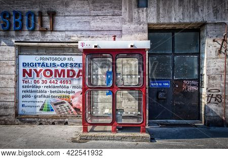Budapest, Hungary, March 2020, View Of A Telephone Box In Vaci Street
